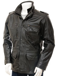 Mens Leather Jacket in Black: Atherington