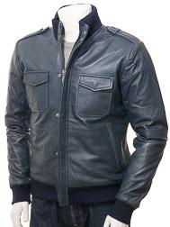 Men's Blue Leather Bomber Jacket: Belgrade