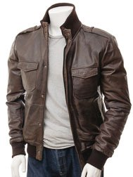 Men's Brown Leather Bomber Jacket: Belgrade
