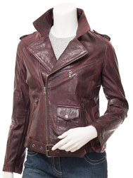 Women's Leather Biker Jacket in Oxblood: Blossburg