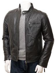Men's Black Leather Biker Jacket: Bodmiscombe