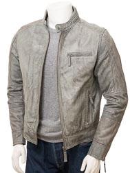 Men's Grey Leather Biker Jacket: Bodmiscombe