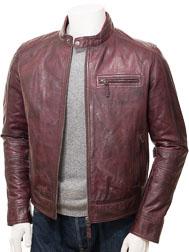 Men's Oxblood Leather Biker Jacket: Bodmiscombe