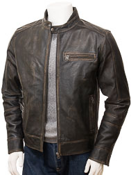 Men's Vintage Leather Biker Jacket: Bodmiscombe