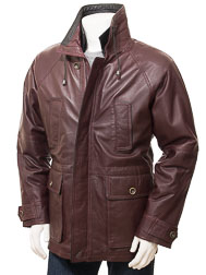 Men's Leather Coat in Oxblood: Brealeys