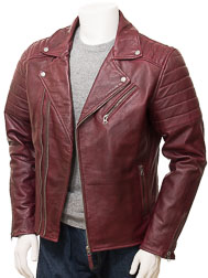 Men's Leather Biker Jacket in Burgundy: Buckerell