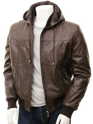 Men's Brown Leather Hoodie Jacket: Chelfham