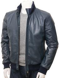 Men's Blue Leather Bomber Jacket: Cheriton