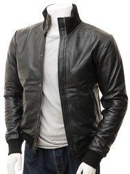 Men's Black Leather Bomber Jacket: Cheriton