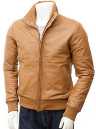 Men's Tan Leather Bomber Jacket: Cheriton