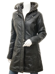 Women's Black Leather Quilted Parka: Claiborne