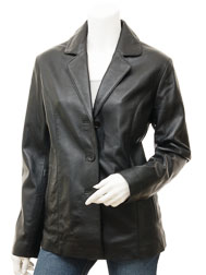 Women's Black Leather Blazer: Clanton