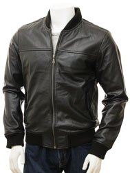 Men's Black Leather Bomber Jacket: Coleford