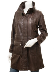 Women's Brown Leather Coat: Cottonton