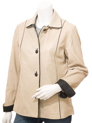 Women's Beige & Black Leather Jacket: Cusseta