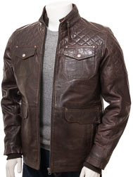 Men's Brown Leather Jacket: Dunsford