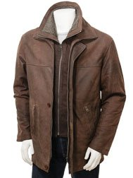 Mens Chestnut Leather Coat: Erfut