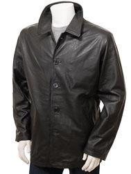 Men's Black Leather Coat: Fremington