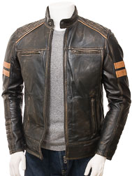 Men's Vintage Leather Biker Jacket: Iddesleigh