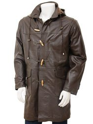 Men's Leather Duffle Coat in Brown: Kaluga