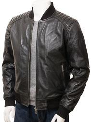 Men's Black Leather Bomber Jacket: Lifton