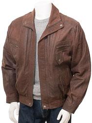Men's Brown Nubuck Leather Blouson: Littleham