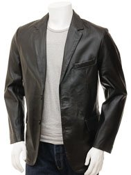 Men's Leather Blazer in Black: Magdeburg