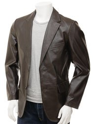 Men's Brown Leather Blazer: Magdeburg