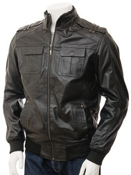 Men's Leather Jacket in Black: Malmo