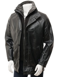 Men's Leather Coat in Black: Messina
