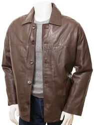 Mens Brown Leather Reefer Jacket: Mostoles