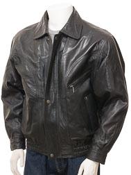 36c37ddce Mens Leather Bomber Jacket in Black: Perugia