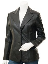 Womens Leather Blazer in Black: Salem