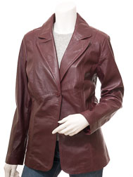 Womens Leather Blazer in Burgundy: Salem
