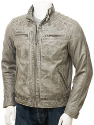 Men's Grey Leather Biker Jacket: Sibiu