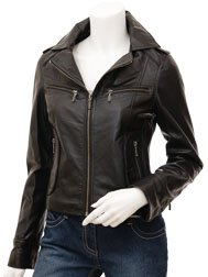 Ladies Leather Biker Jacket in Black: Niagara