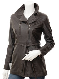 Womens Leather Jacket in Brown: Addison