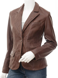 Womens Leather Blazer in Brown: Aliceville
