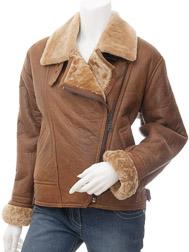 Womens Tan Sheepskin Flying Jacket: Arley