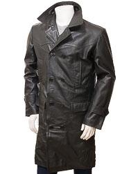 Men's Black Leather Trench Coat: Ashton