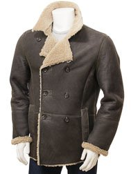 Mens Khaki Sheepskin Peacoat: Badworthy