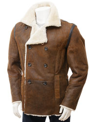 Mens Tan Sheepskin Peacoat: Badworthy