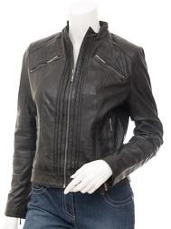 31f2df82fb34c Women s Black Leather Biker Jacket   Bankston