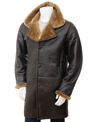 Mens Brown Sheepskin Trench Coat: Barbrook