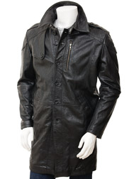 Mens Black Leather Trench Coat: Battledown