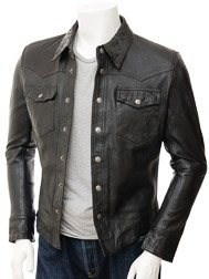 Mens Black Leather Shirt: Beaworthy