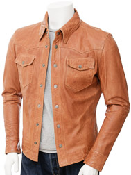 Mens Tan Leather Shirt: Beaworthy