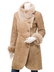 Women's Beige Toscana Shearling Coat: Boykin
