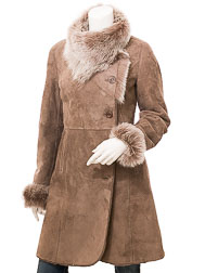 Women's Smoke Toscana Shearling Coat: Boykin