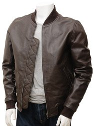 Men's Brown Leather Bomber Jacket: Bradstone